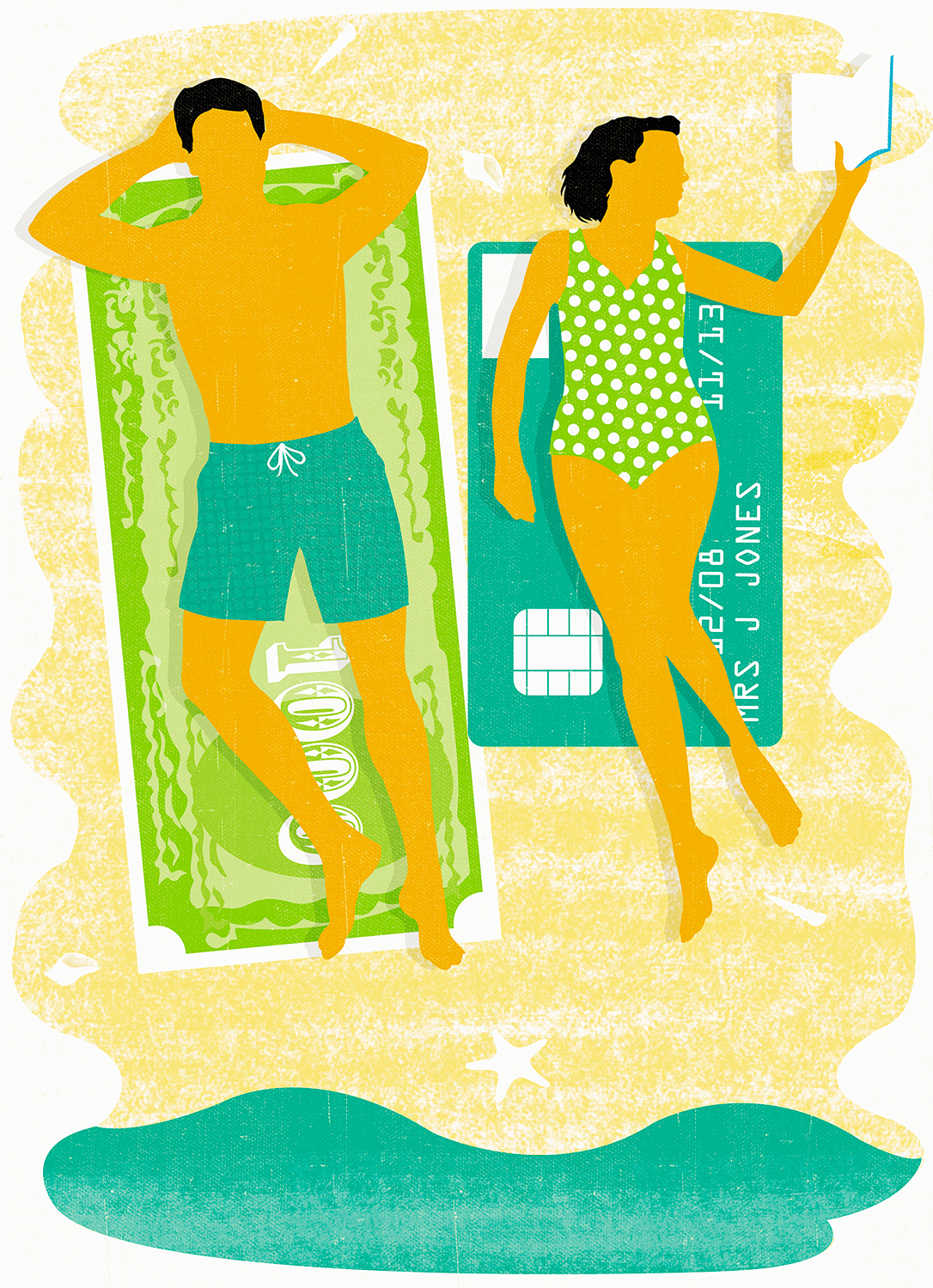 Couple Lounging on Money