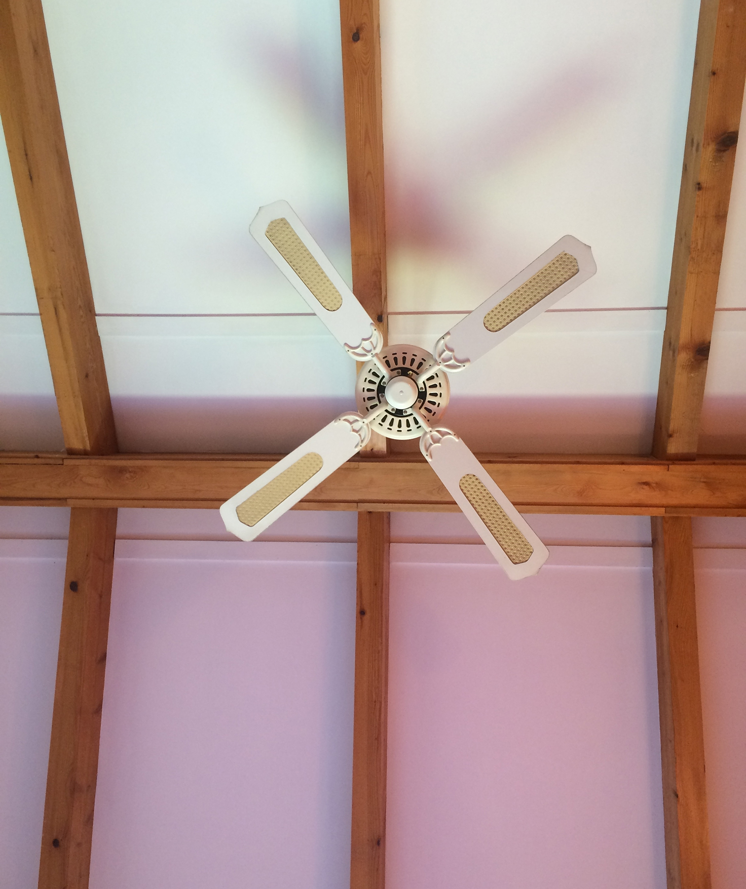 Ceiling fan and beams
