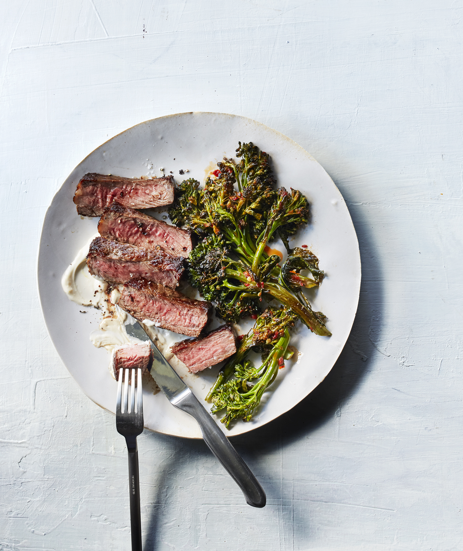 Strip Steaks With Chili Broccolini and Lemon Mayo