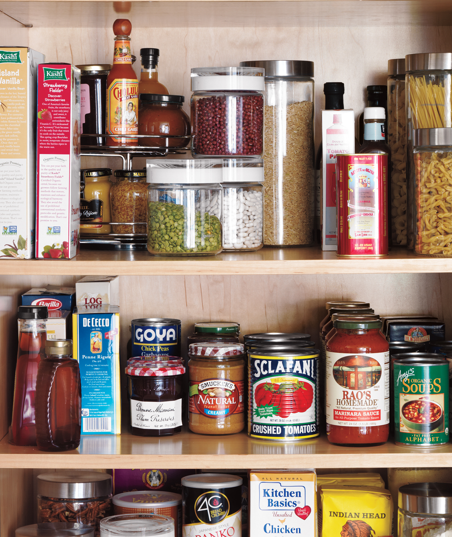 Pantry shelves with spices