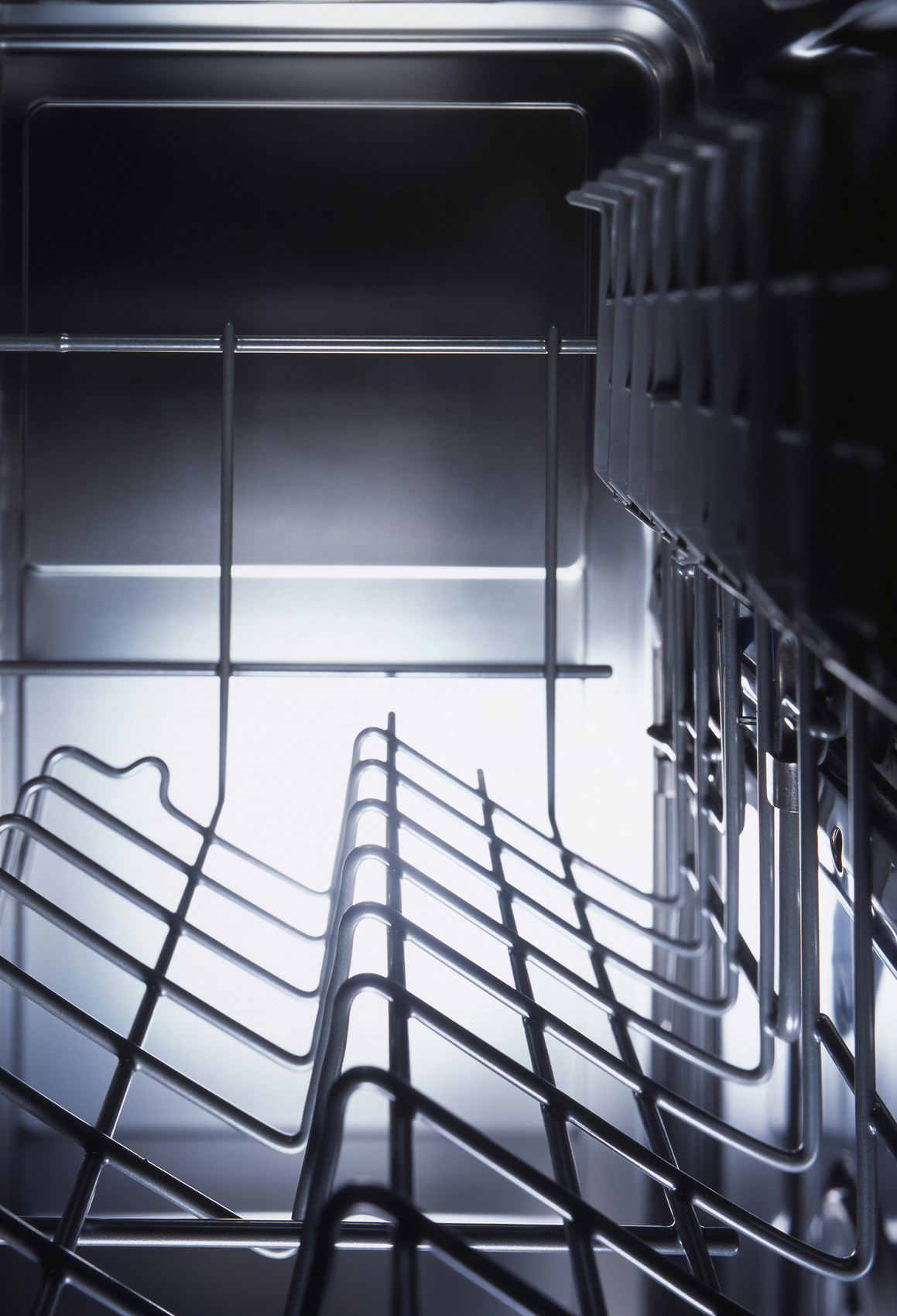 Detail of the inside of a dishwasher