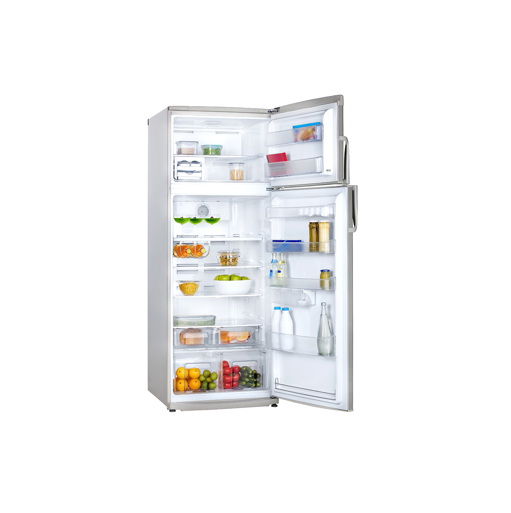 Open refrigerator on white