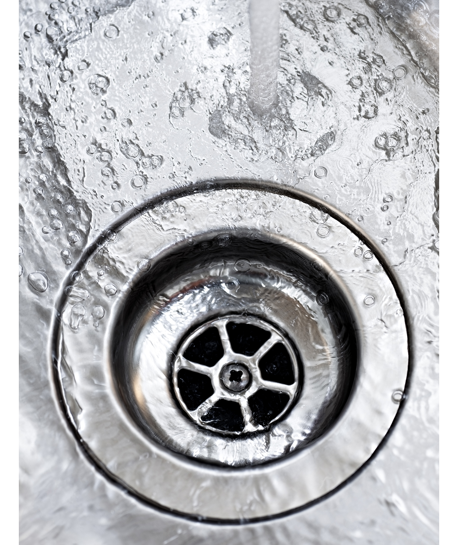 Sink drain with water