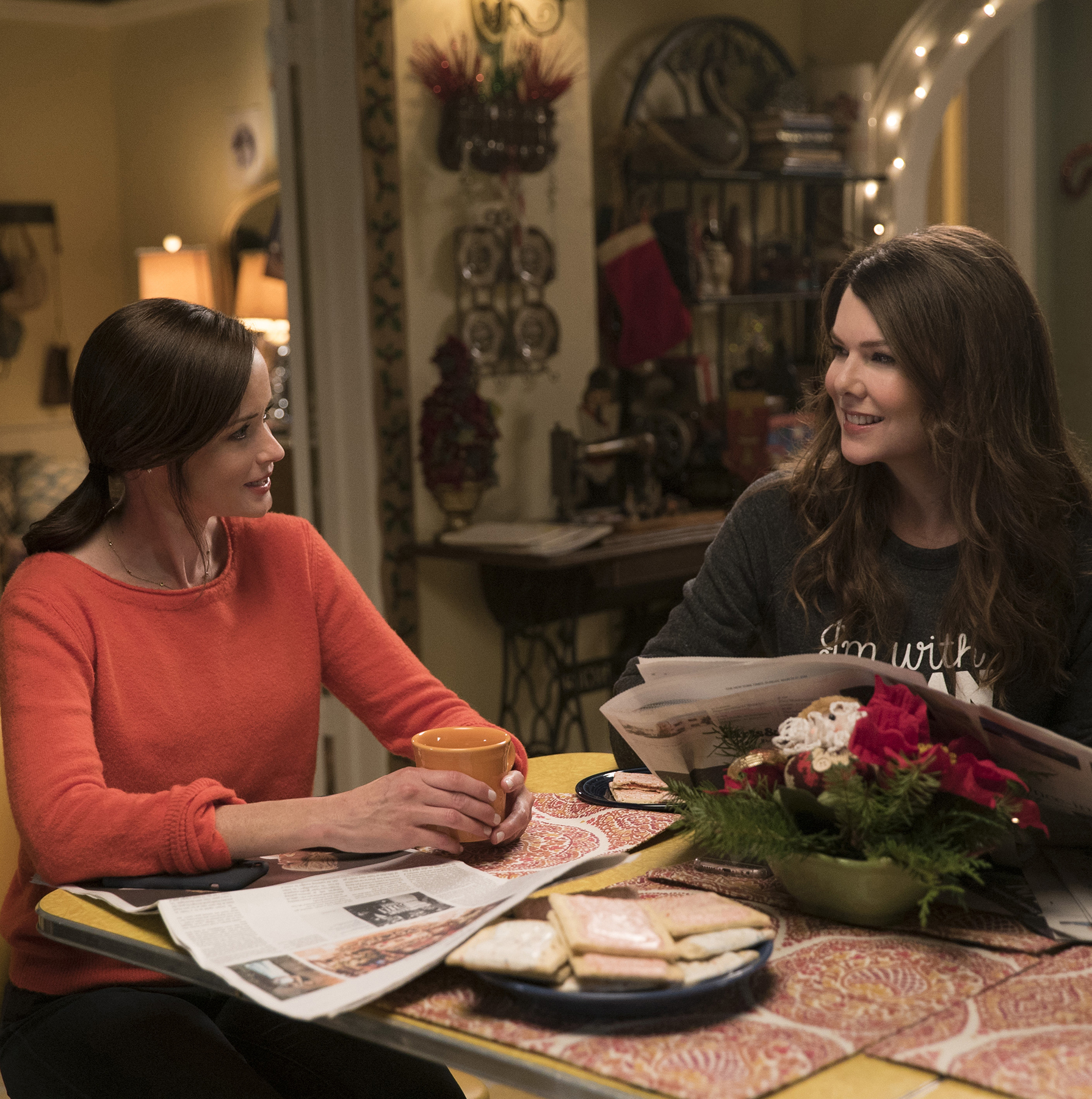 Gilmore Girls at table with Pop-Tarts