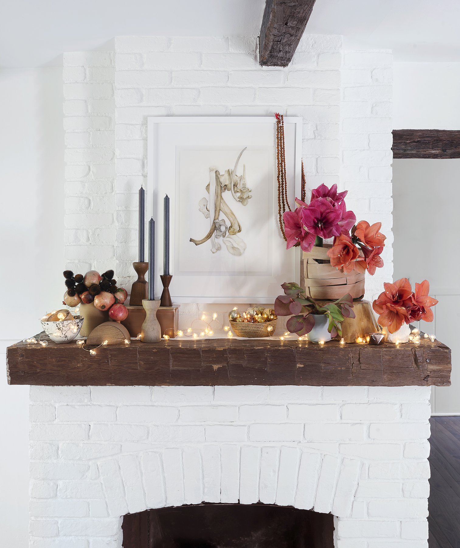 Mantel with floral and holiday decorations