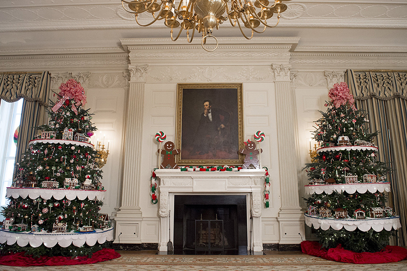 White Room with Christmas Trees