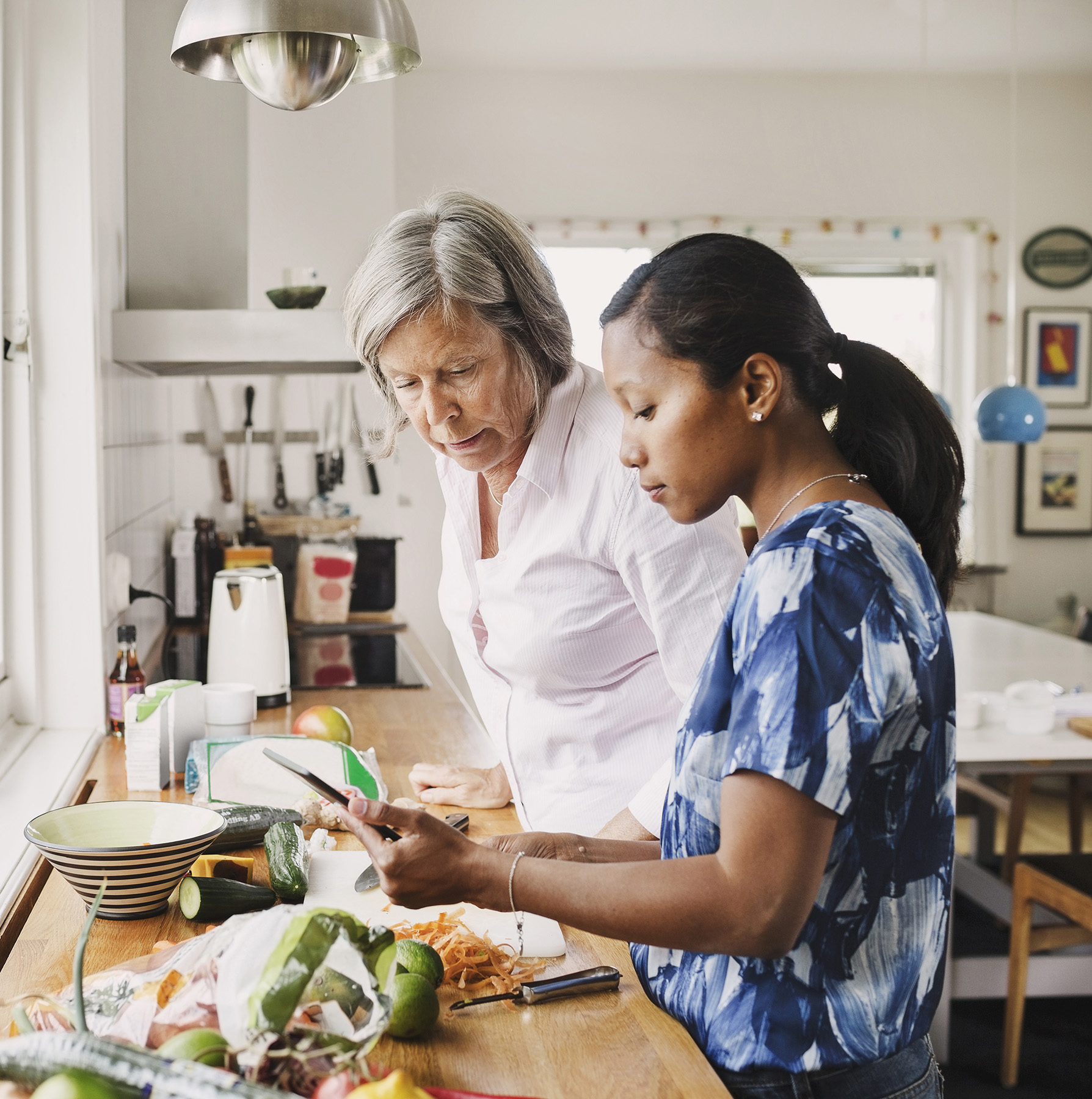 Mother and daughter-in-law cooking