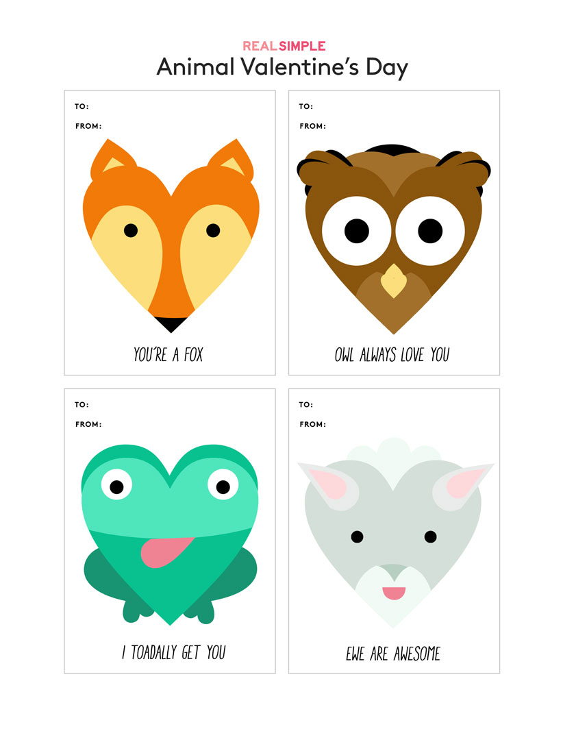 Animal Valentine's Day Cards