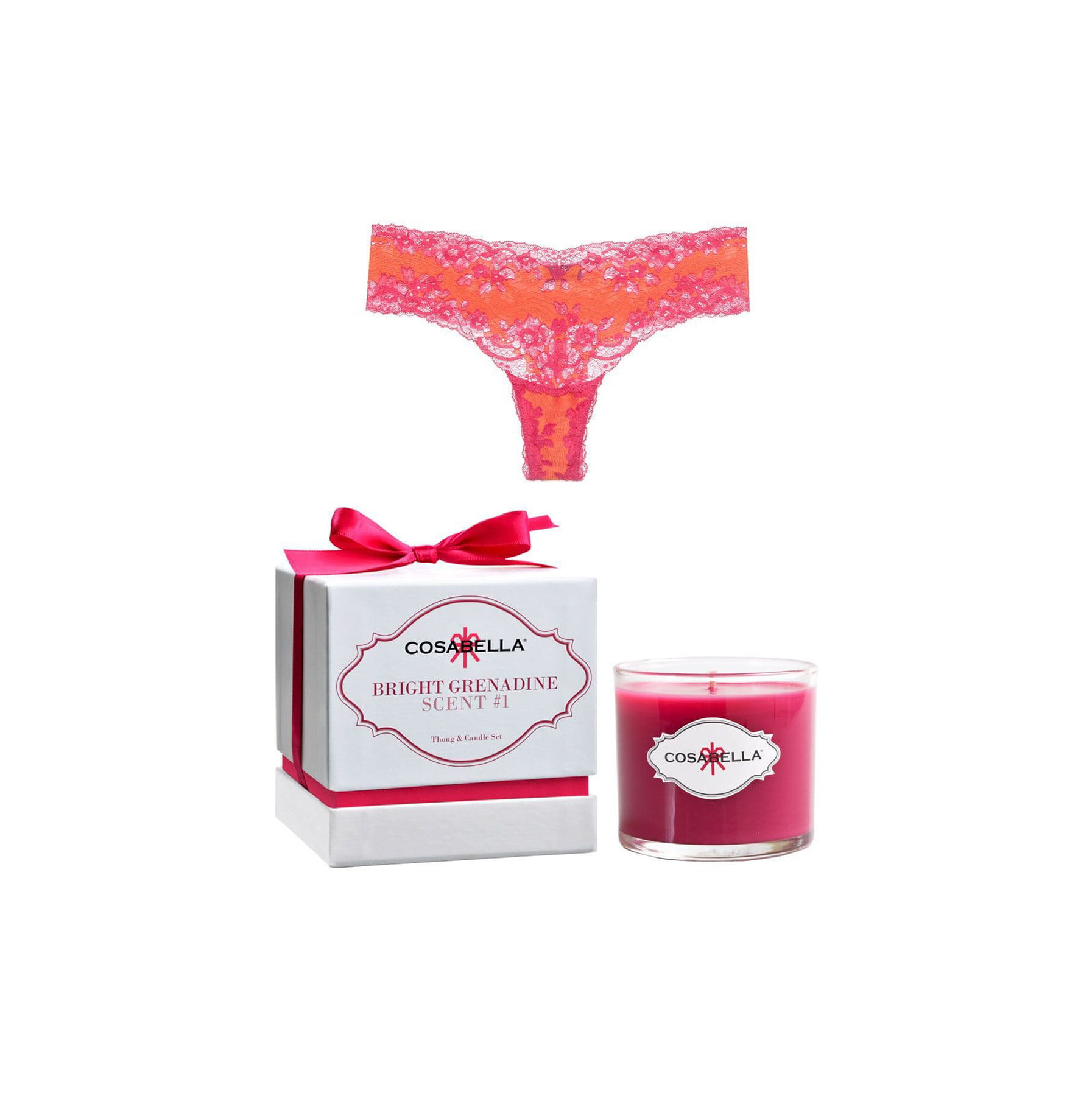 Cosabella Italia Lace Thong & Candle Set