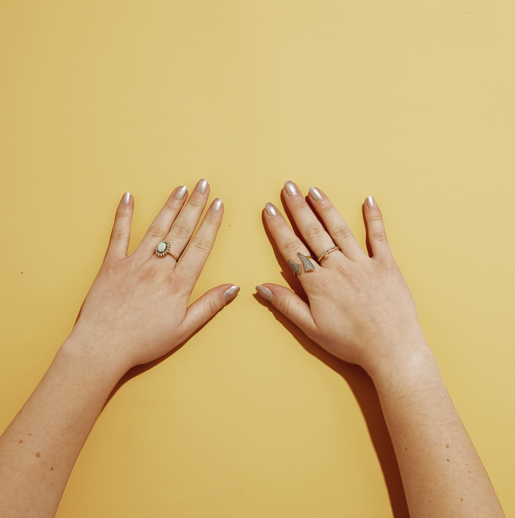 Hands with pearl polish