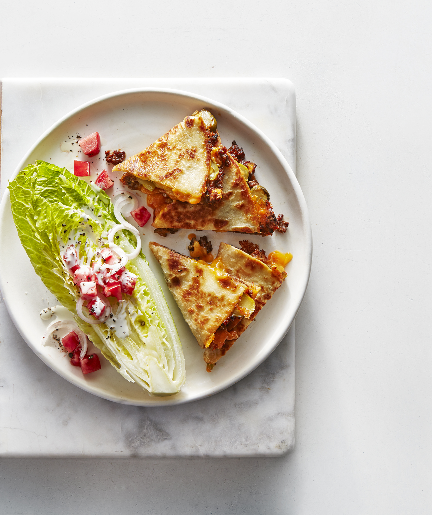 Cheeseburger Quesadillas With Romanie Wedge Salad