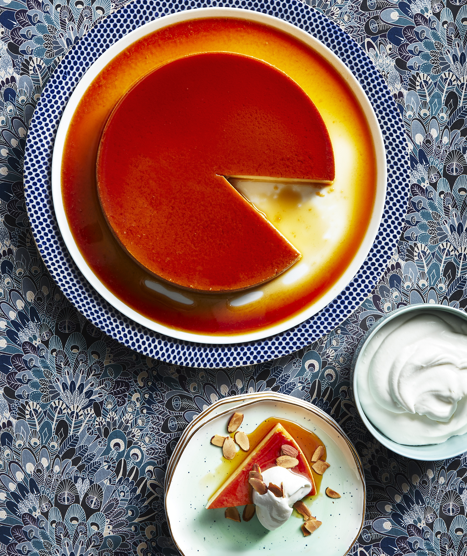 Honey-Almond Flan With Bourbon Whipped Cream