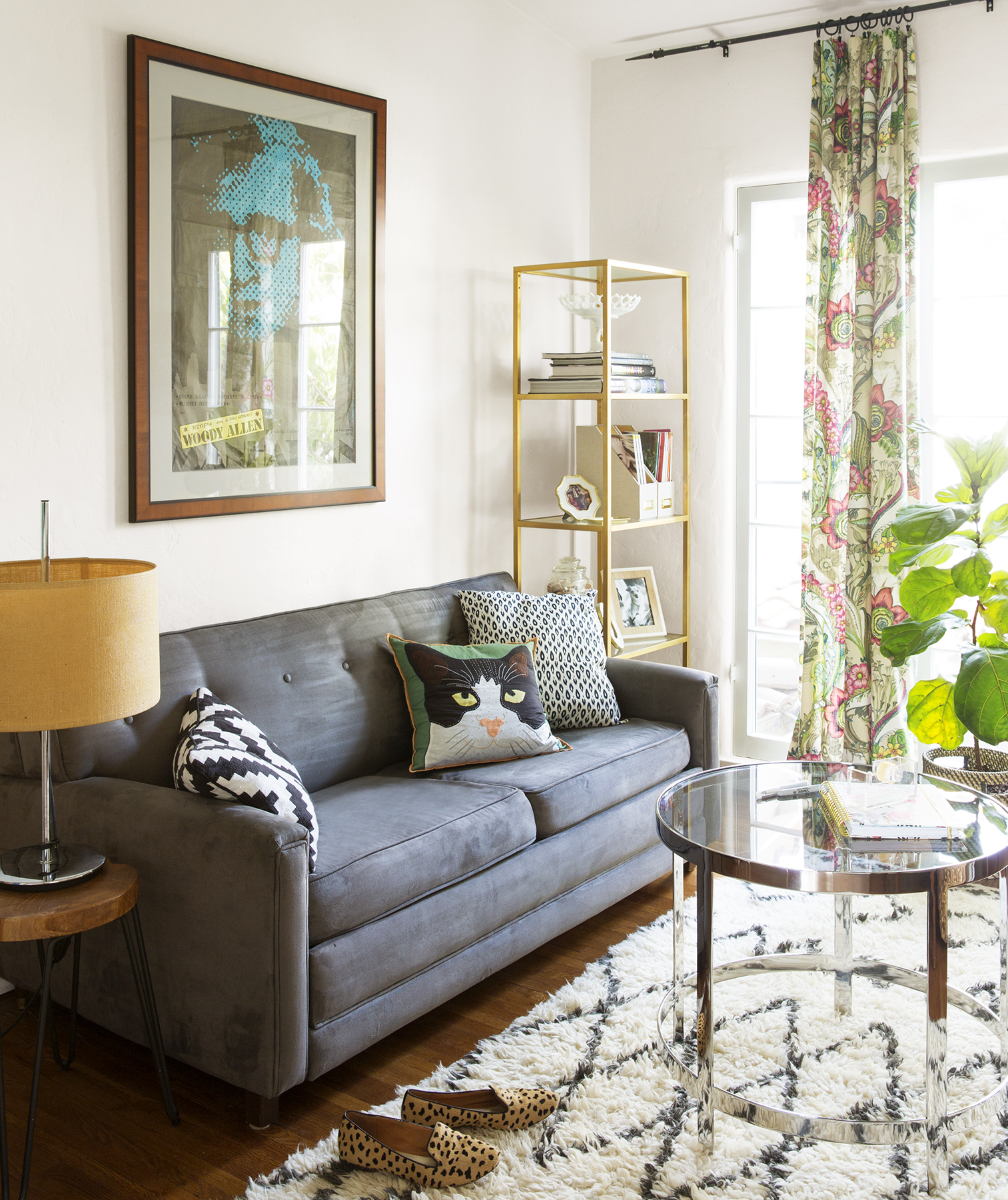 Family room with gray sofa and area rug