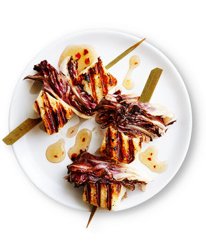 Grilled Halloumi and Radicchio Kebabs