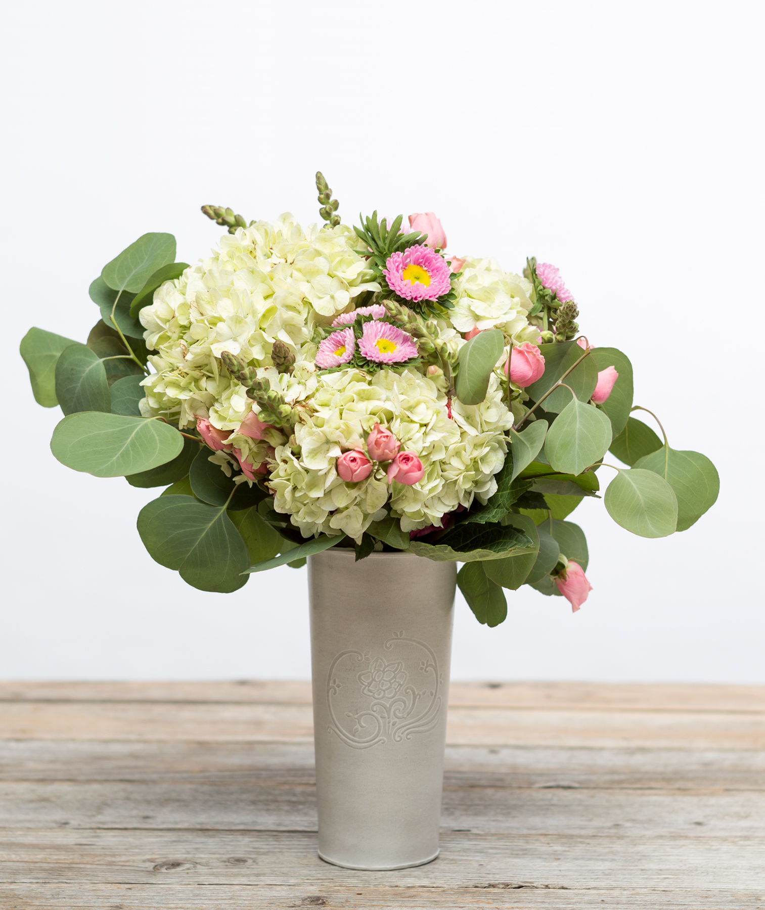 Bouquet with white hydrangeas