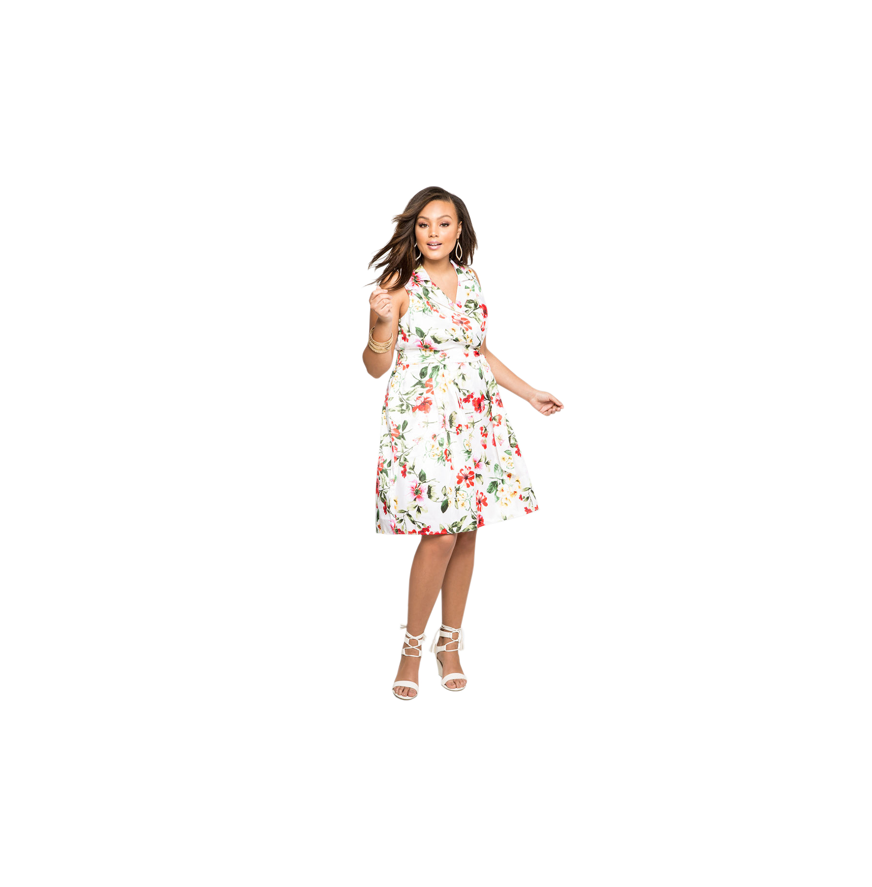 Ashley Stewart White Floral Sateen Belted Dress