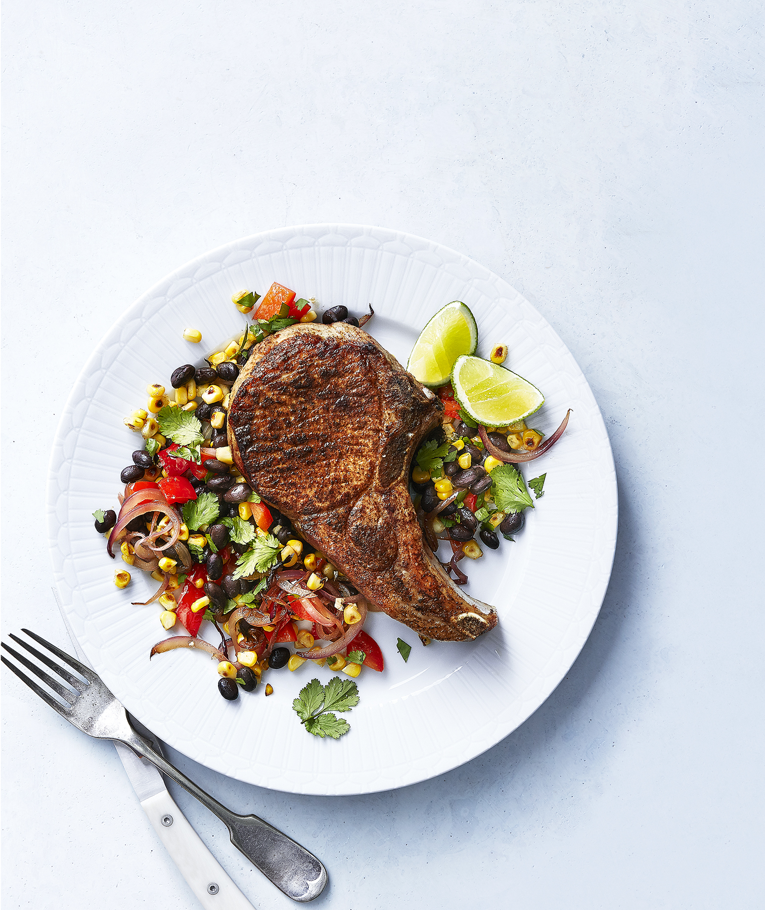 Pork Chops With Black Bean Succotash