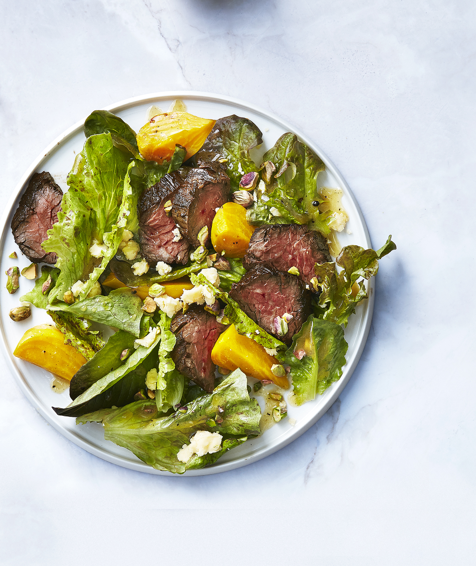 Steak and Beet Salad with Cheddar and Pistachios