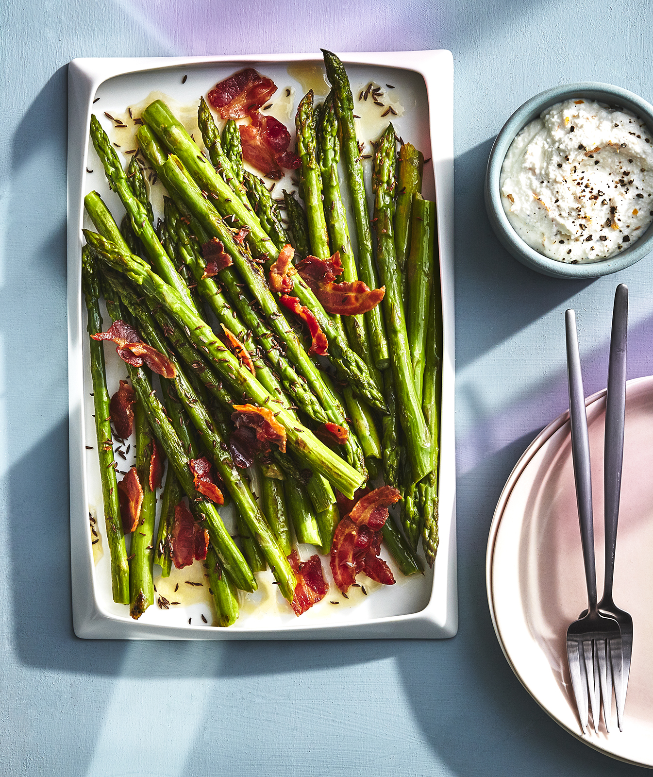 Lemon-caraway Asparagus With Ricotta and Pancetta