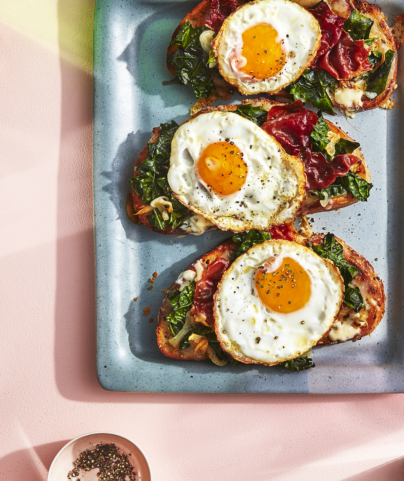Spring Greens Tartine with Prosciutto, Fontina, and a Fried Egg