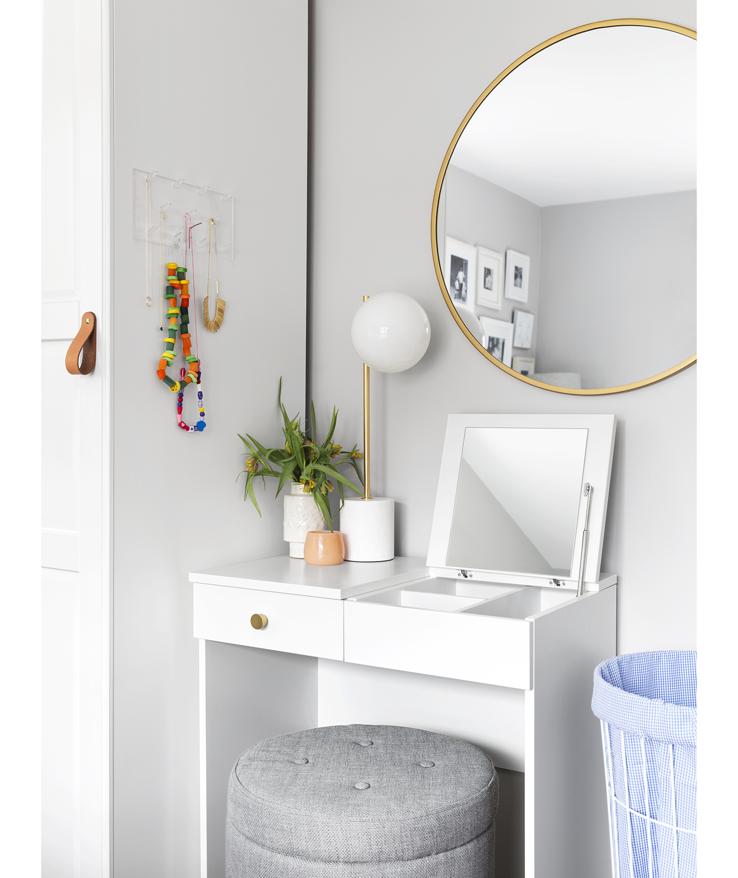White dressing table with storage ottoman