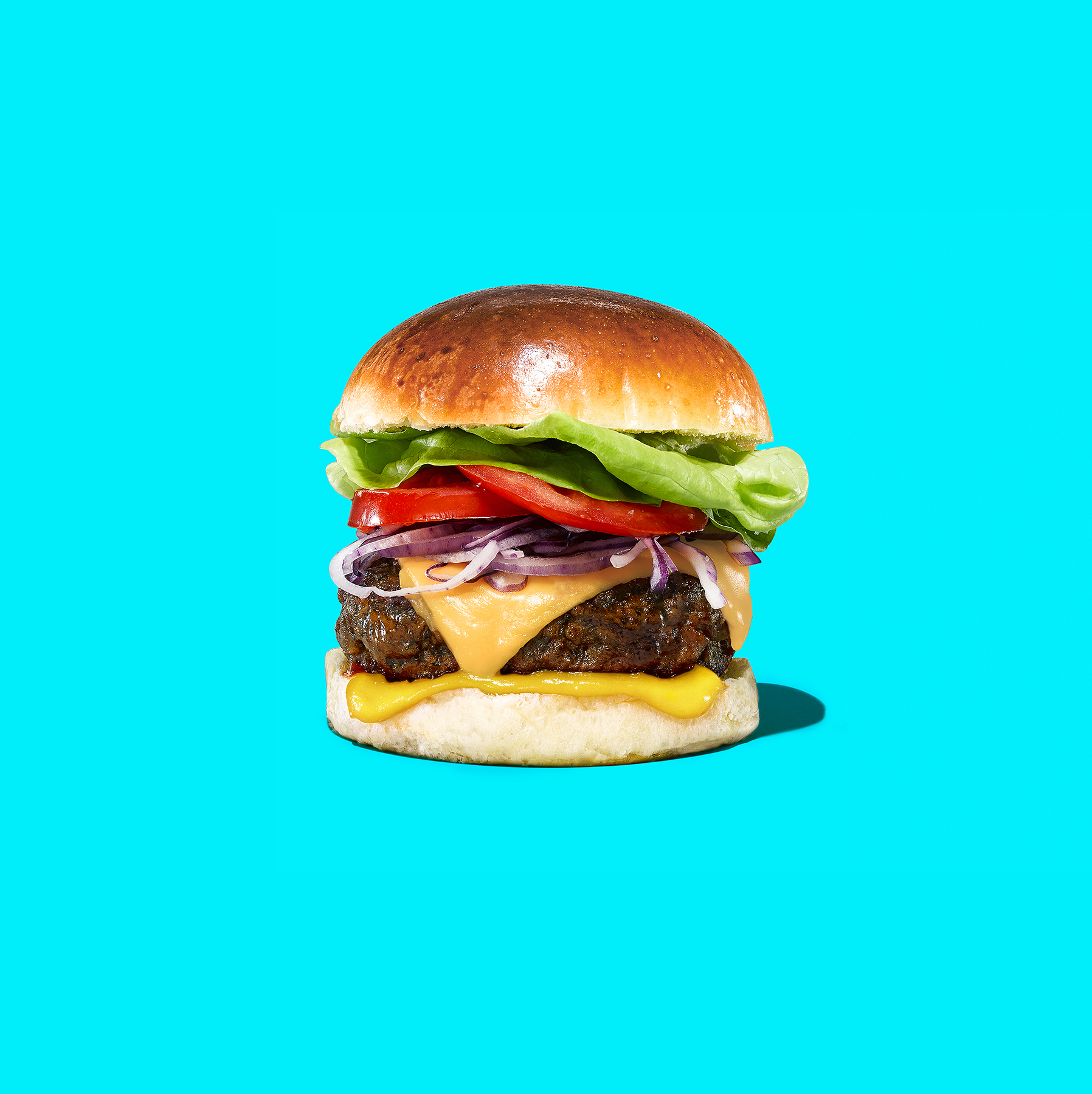 Ultimate burger on blue background