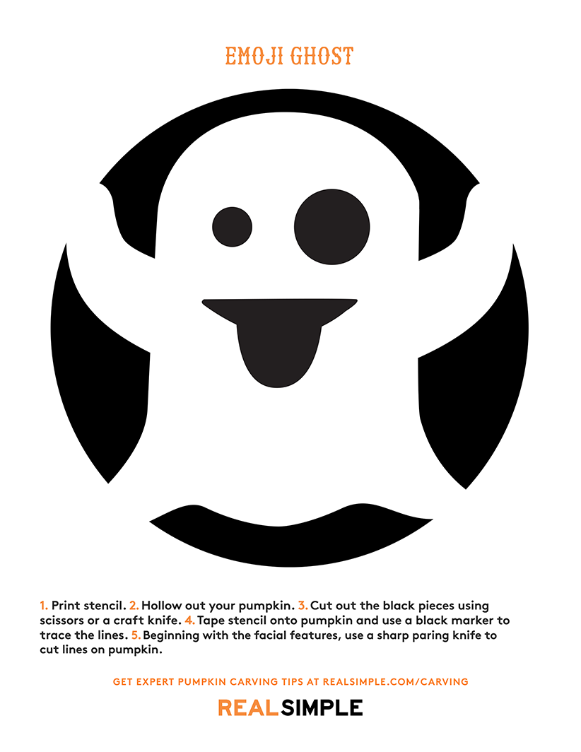 The best ghost pumpkin designs real simple for Emoji pumpkin stencil
