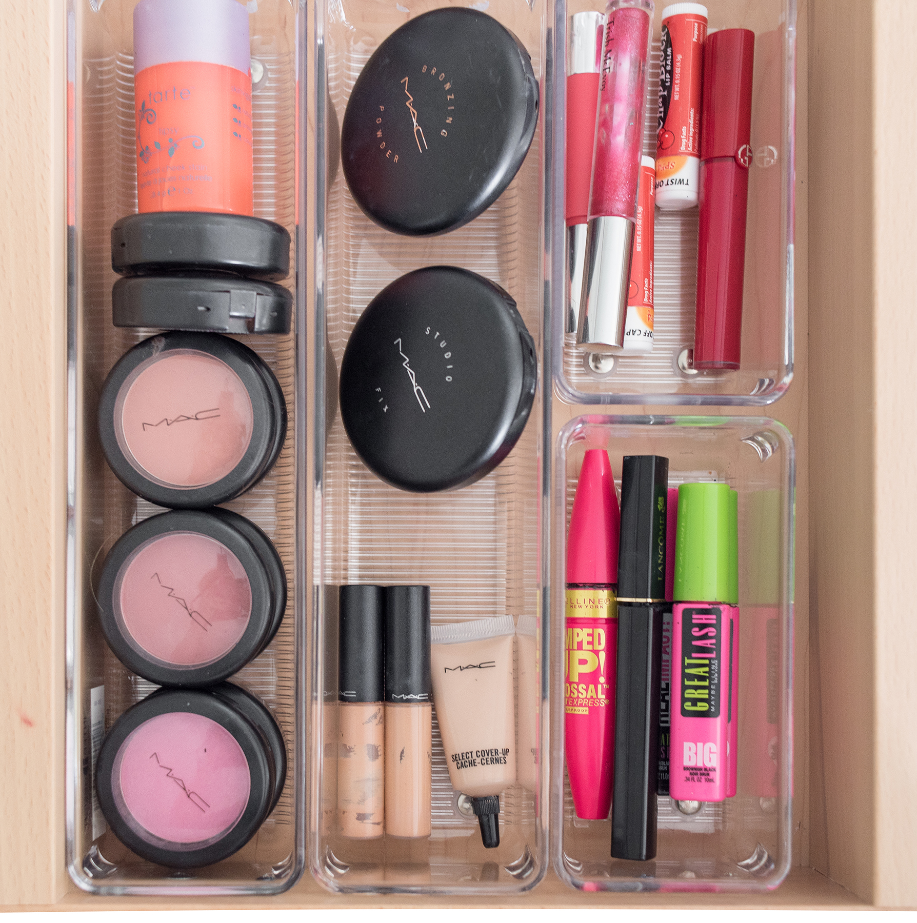 Makeup organized in tray