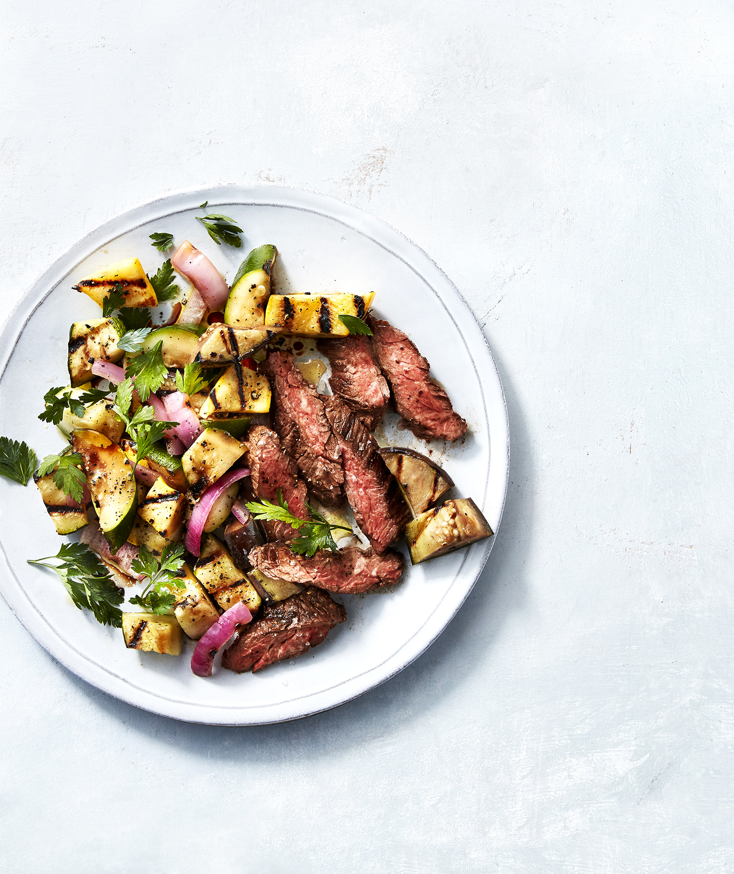 Grilled Skirt Steak With Squash Ratatouille