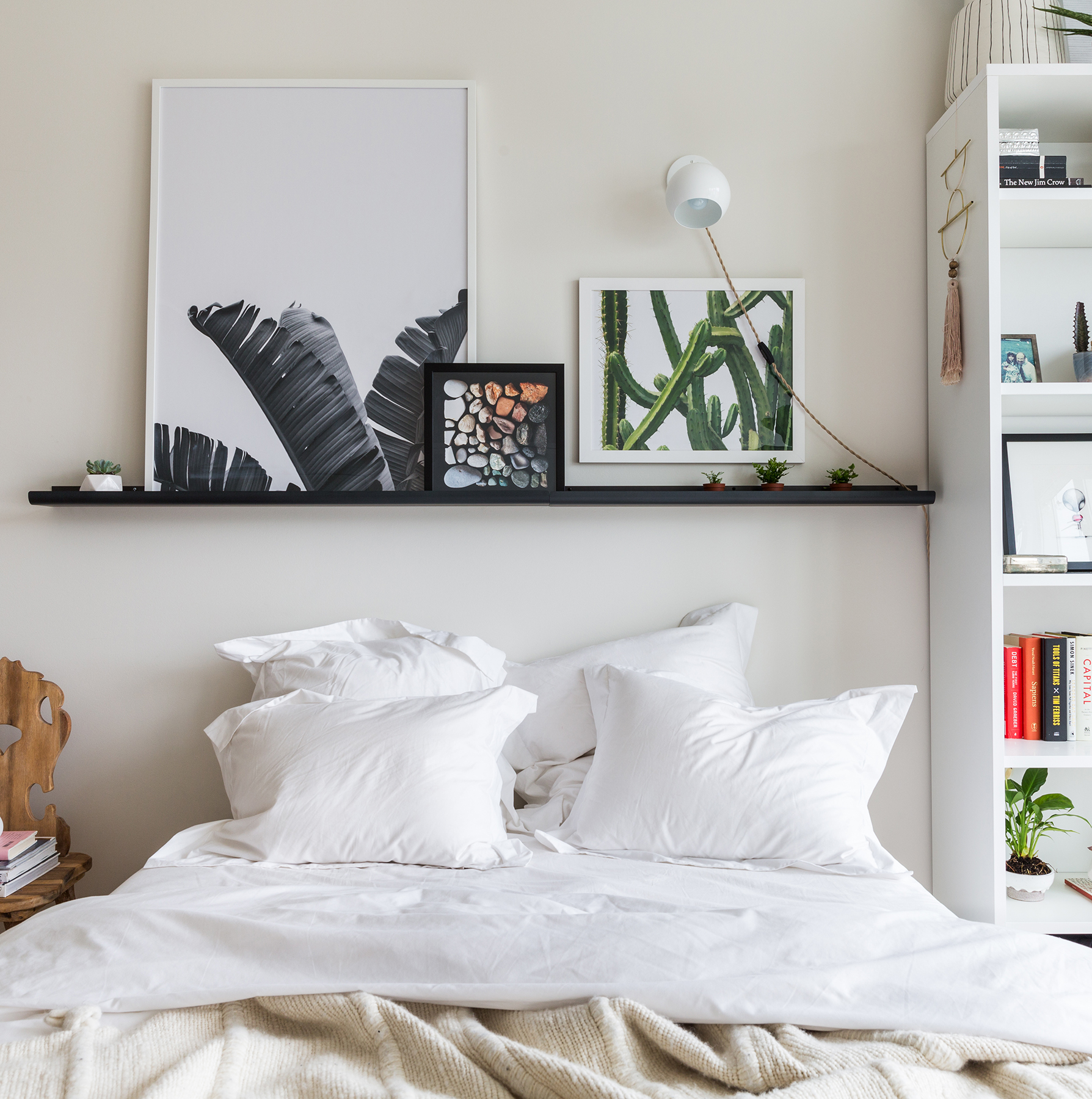 Bed with gallery shelf above