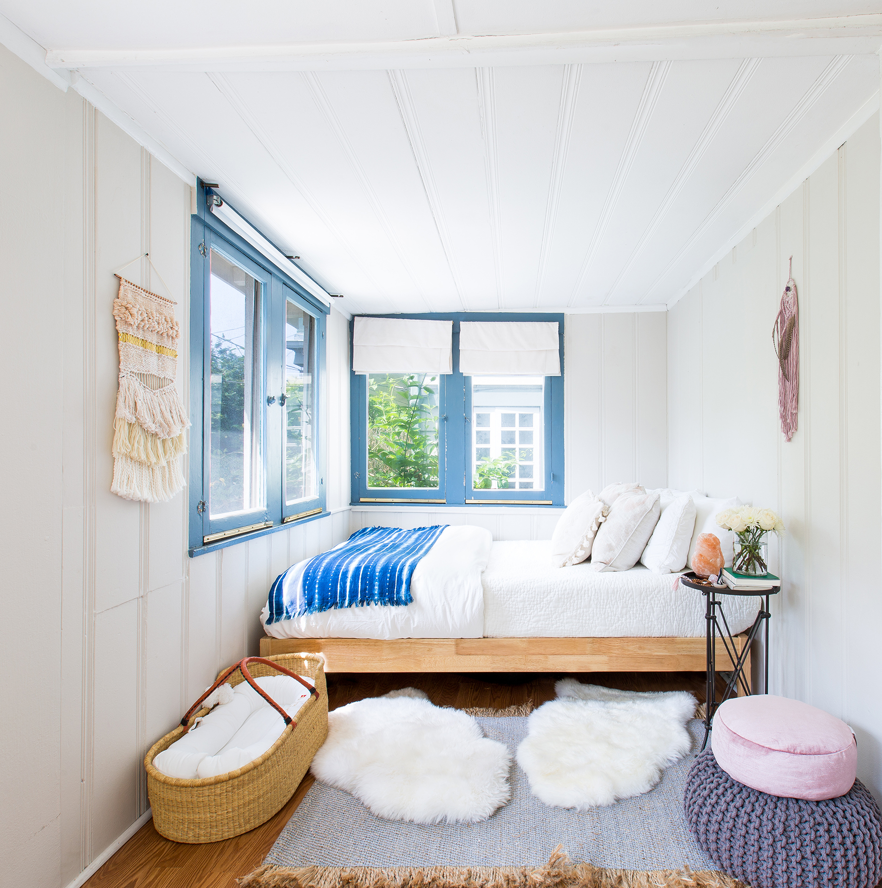 Room with light-colored wall decor