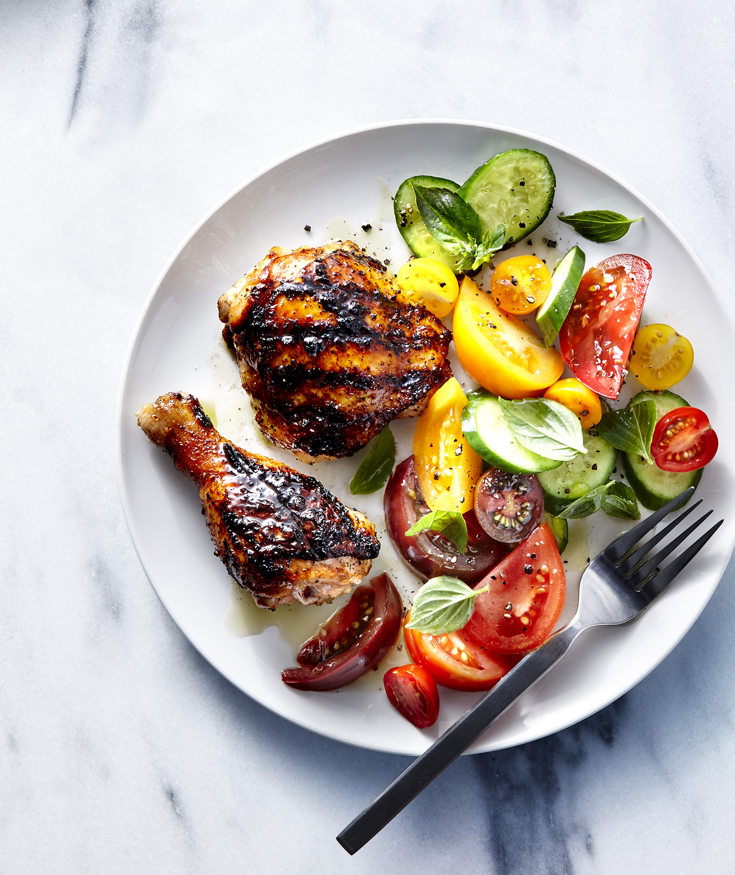 Grilled Chicken With Tomato-Cucumber Salad