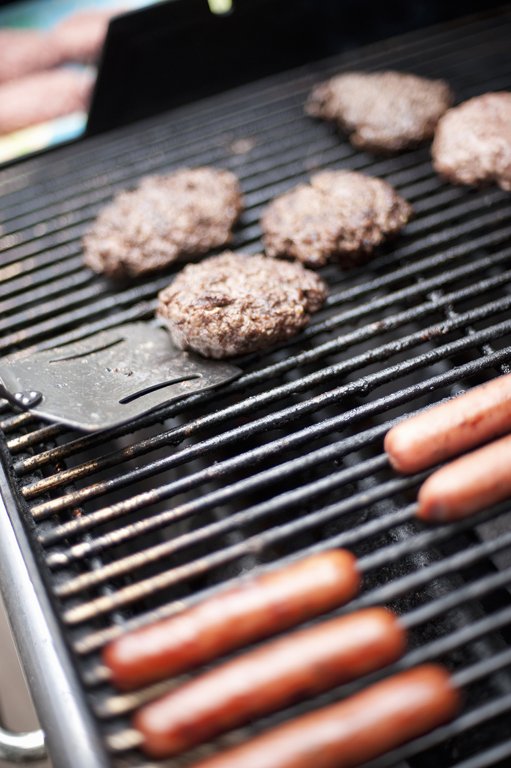 Grilled Burgers and Hot Dogs