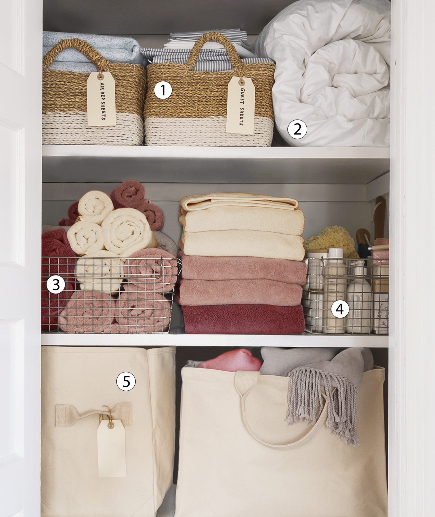 Organized linen closet (numbered)