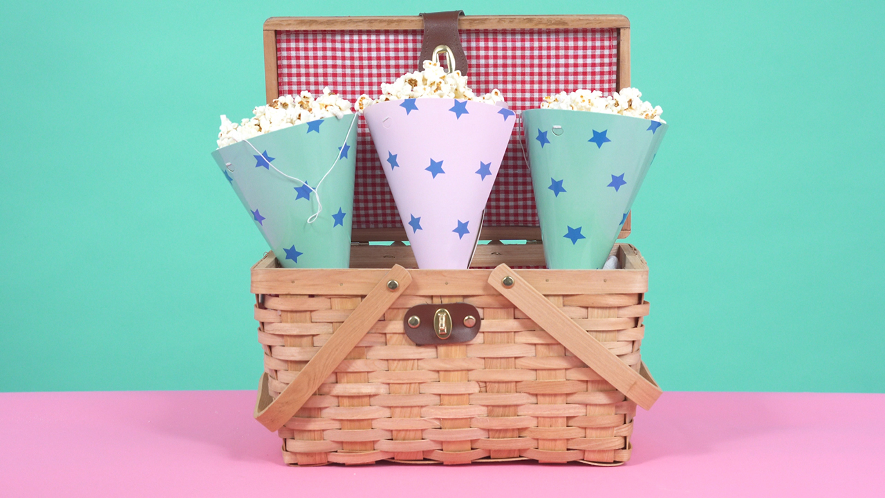 Party hats as popcorn holders