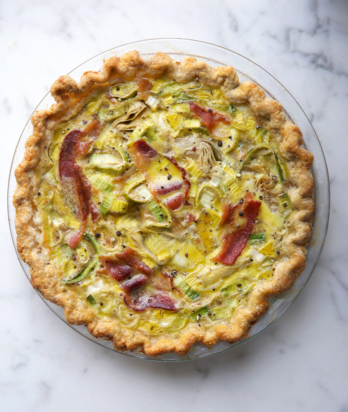 artichoke-leek-bacon-quiche