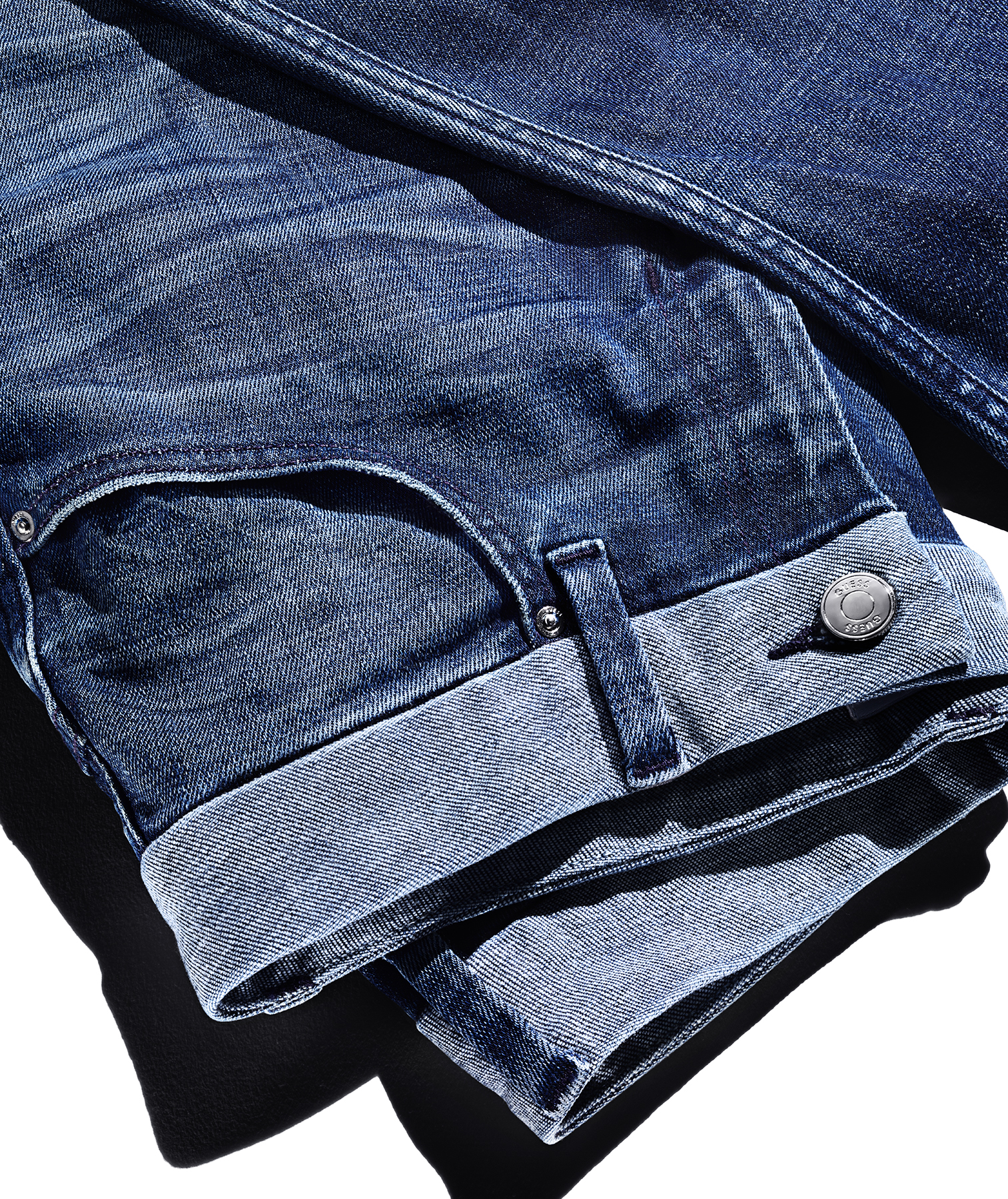 Jeans with contrasting waistband