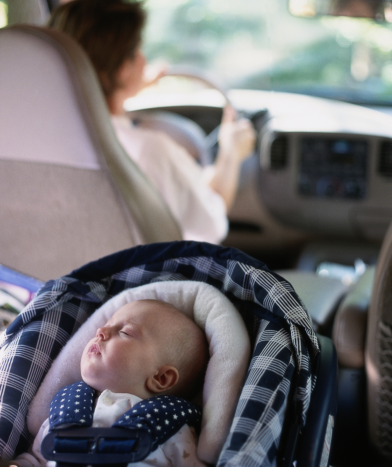 Mom and baby in car