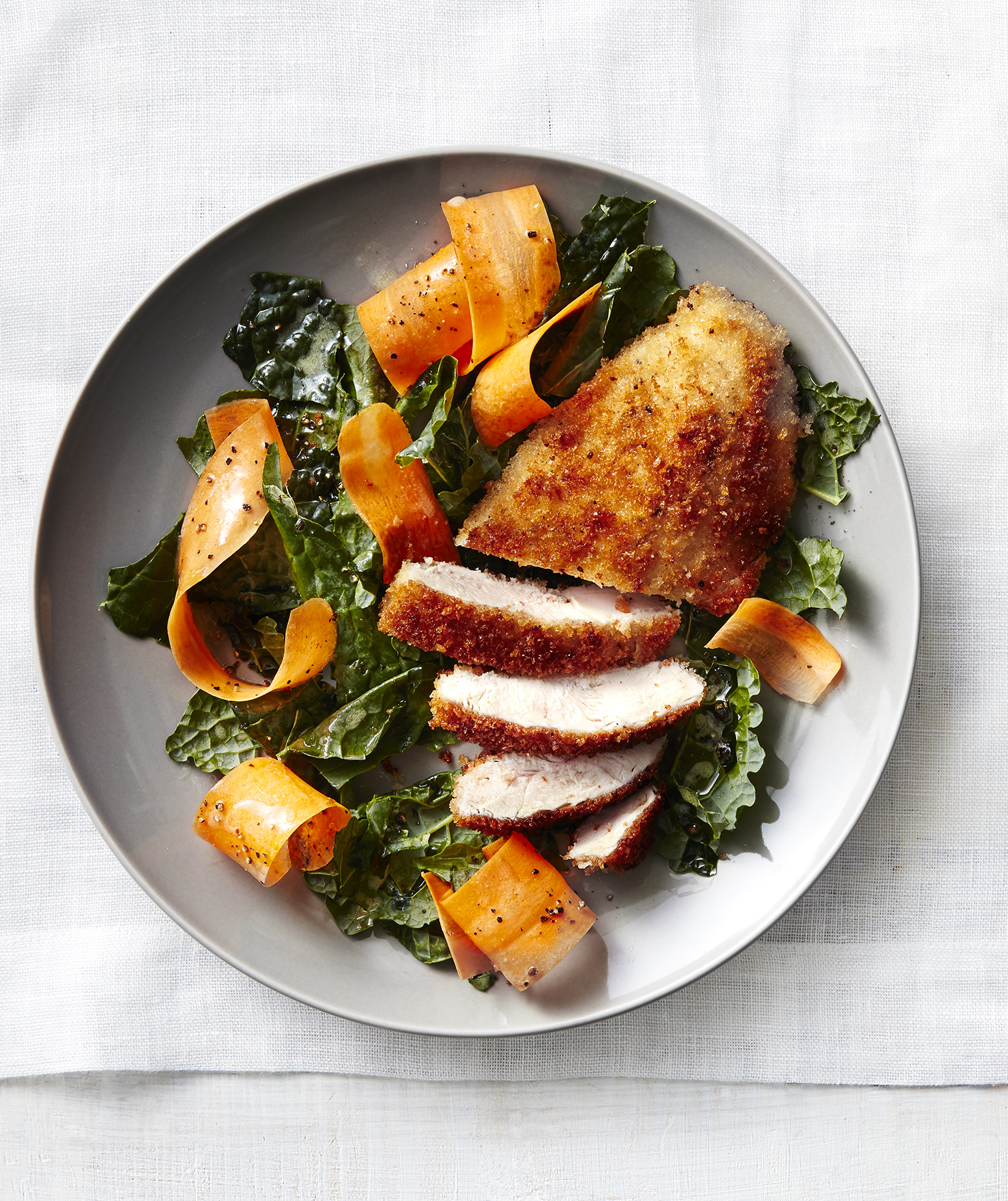 Crispy Chicken Cutlets With Carrot and Kale Salad