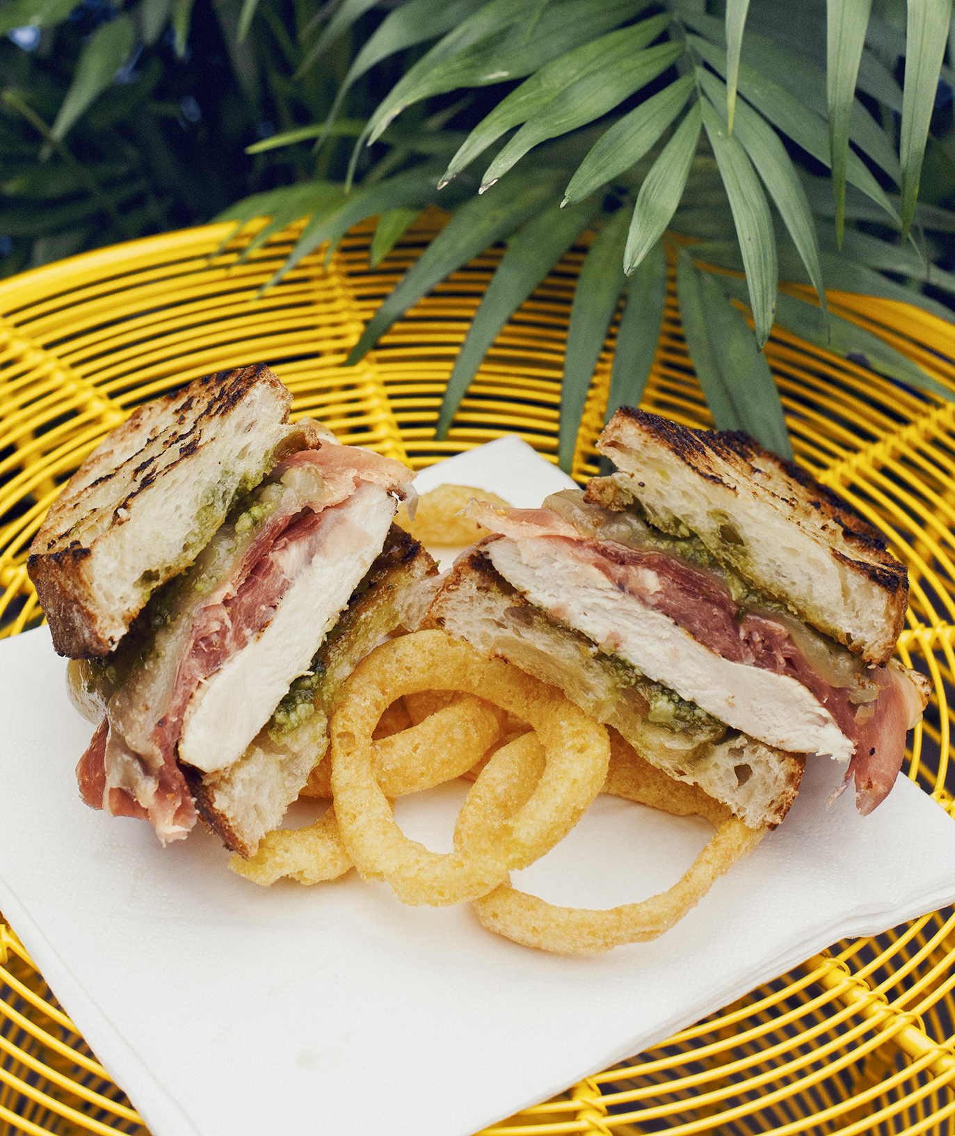 Grilled Chicken and Prosciutto on Ciabatta With Pesto and Fontina