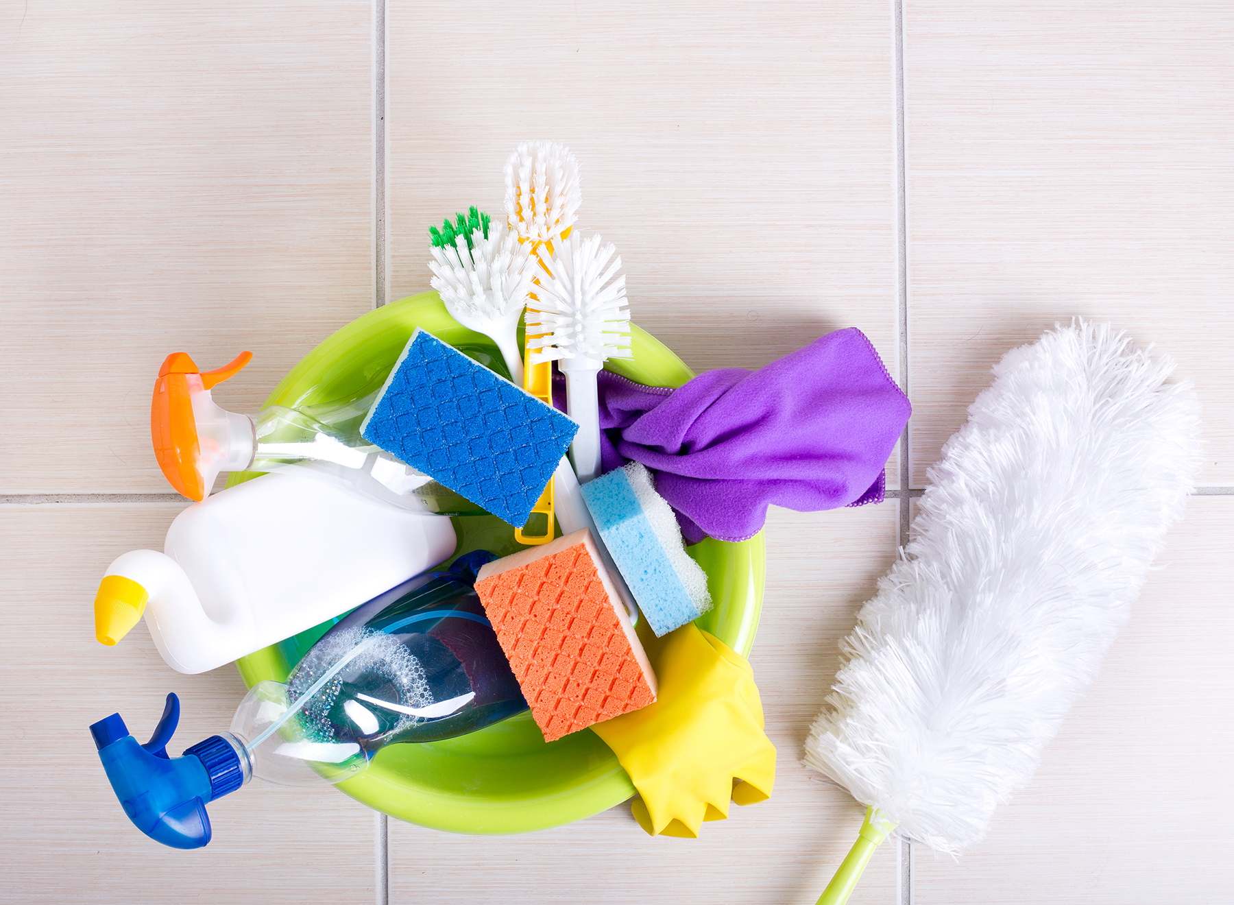 Array of cleaning supplies