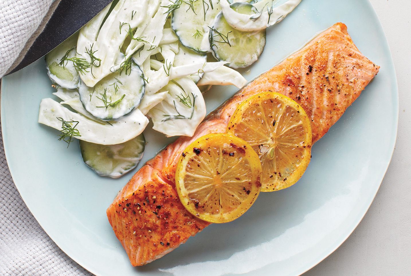 Salmon With Creamy Cucumber-Fennel Salad