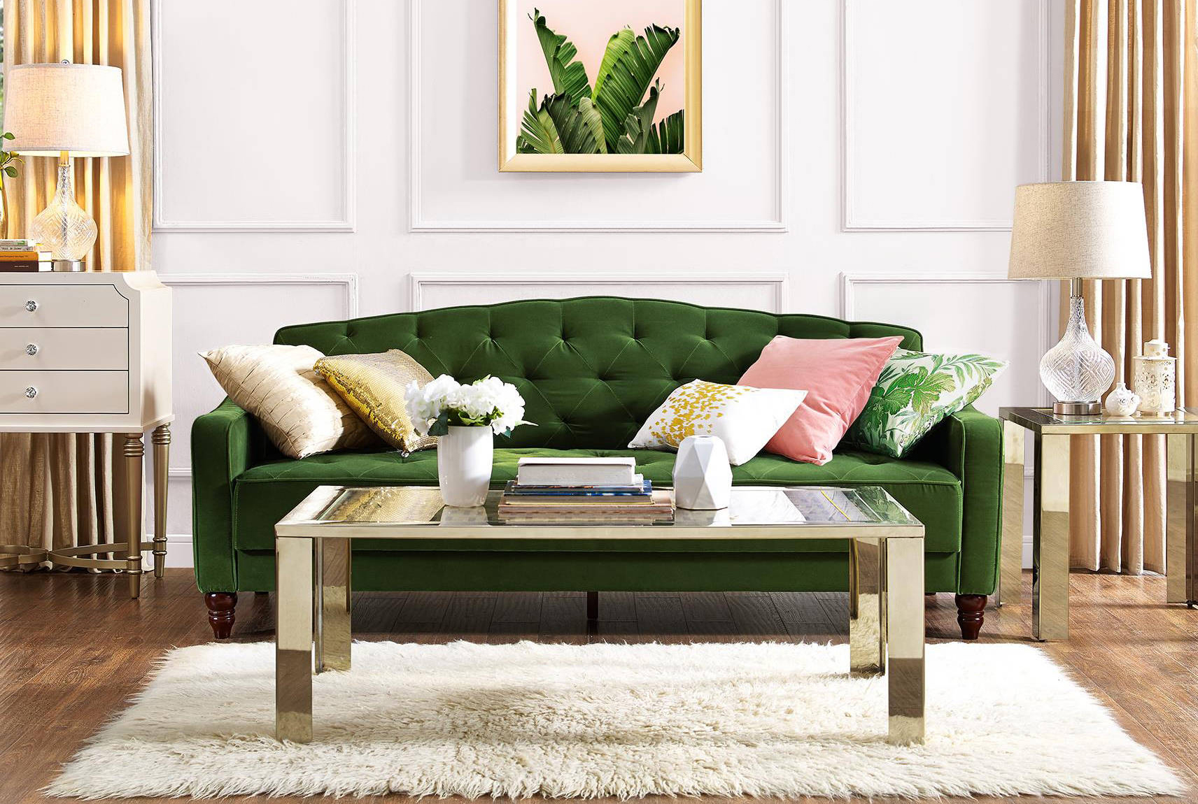Novogratz Vintage Tufted Sleeper Sofa II