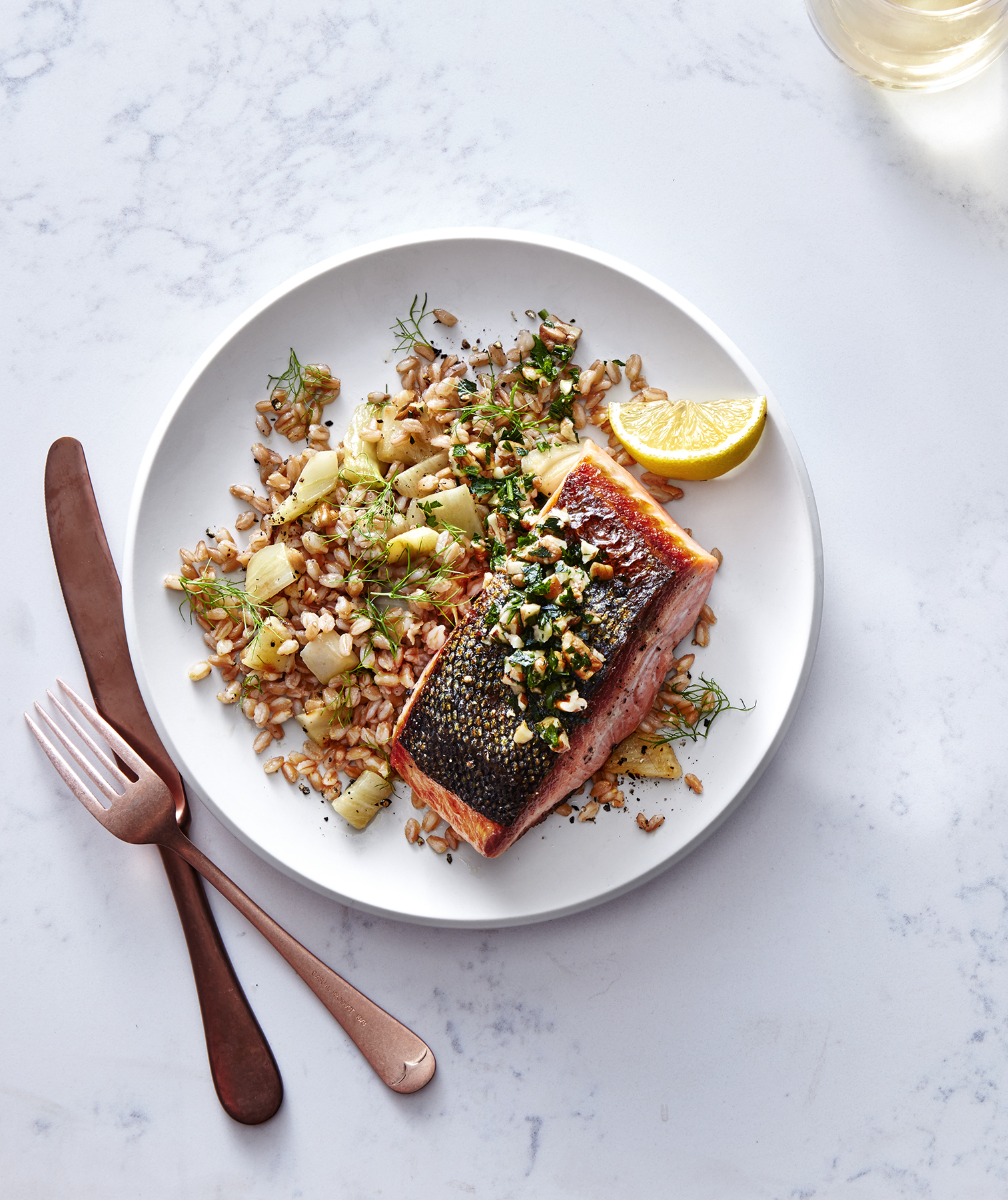 Crispy Salmon With Farro and Pecan Gremolata