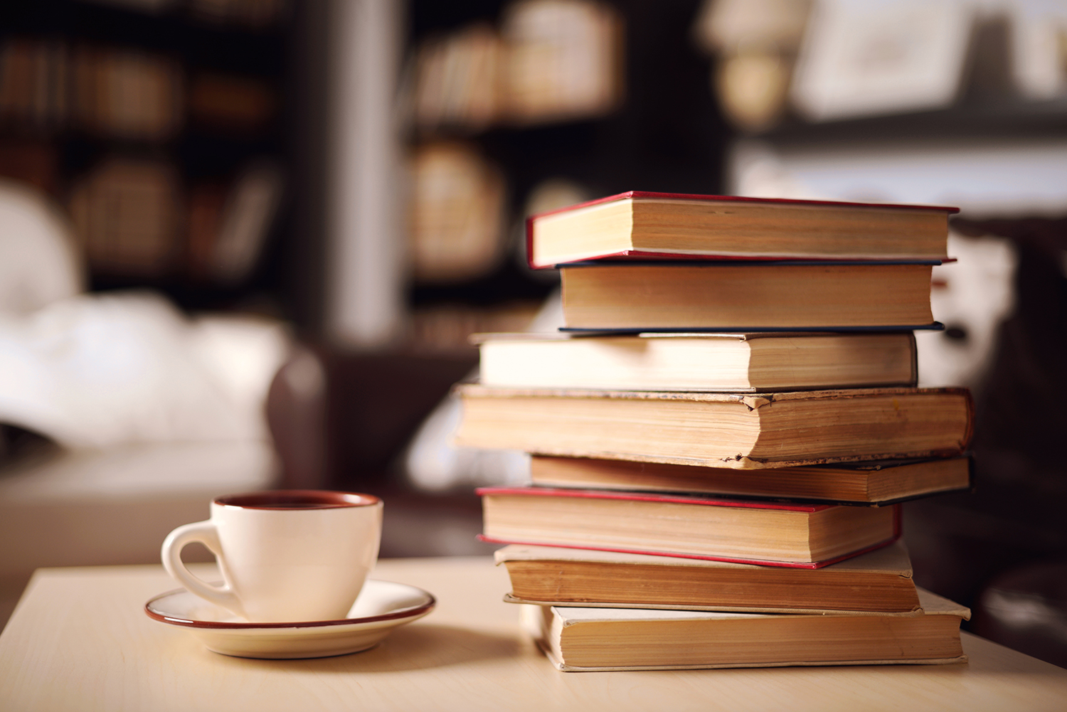 Books Stacked on Table