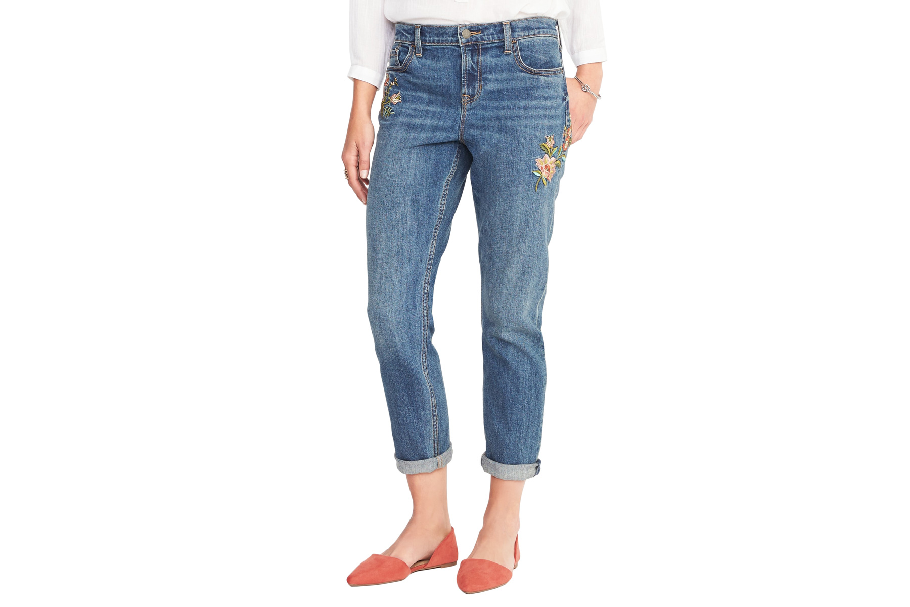 Boyfriend Embroidered-Patch Straight Jeans