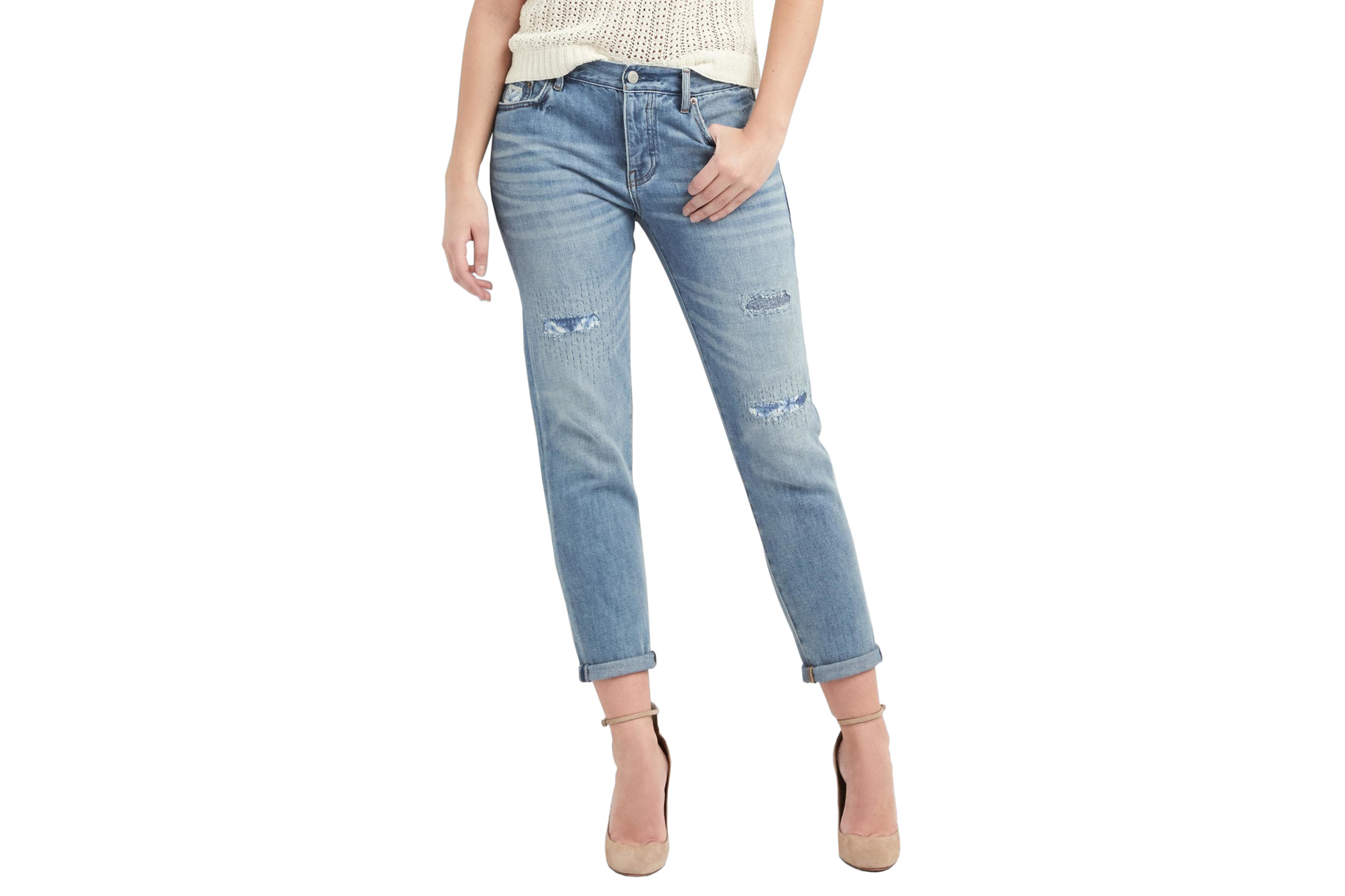 Mid Rise Relaxed Boyfriend Patch Jeans