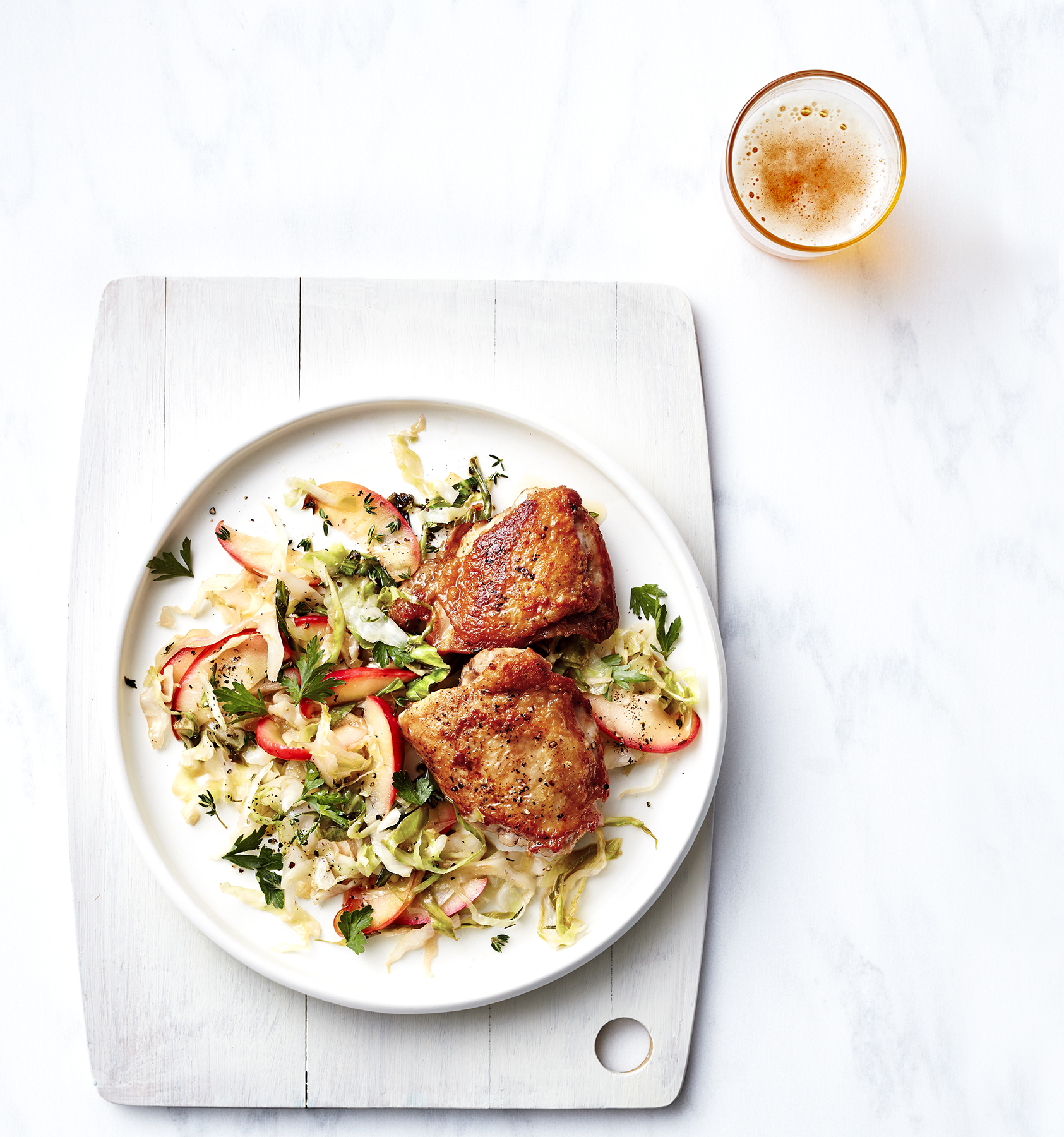 Pan-Roasted Chicken With Braised Apple and Cabbage Recipe ...