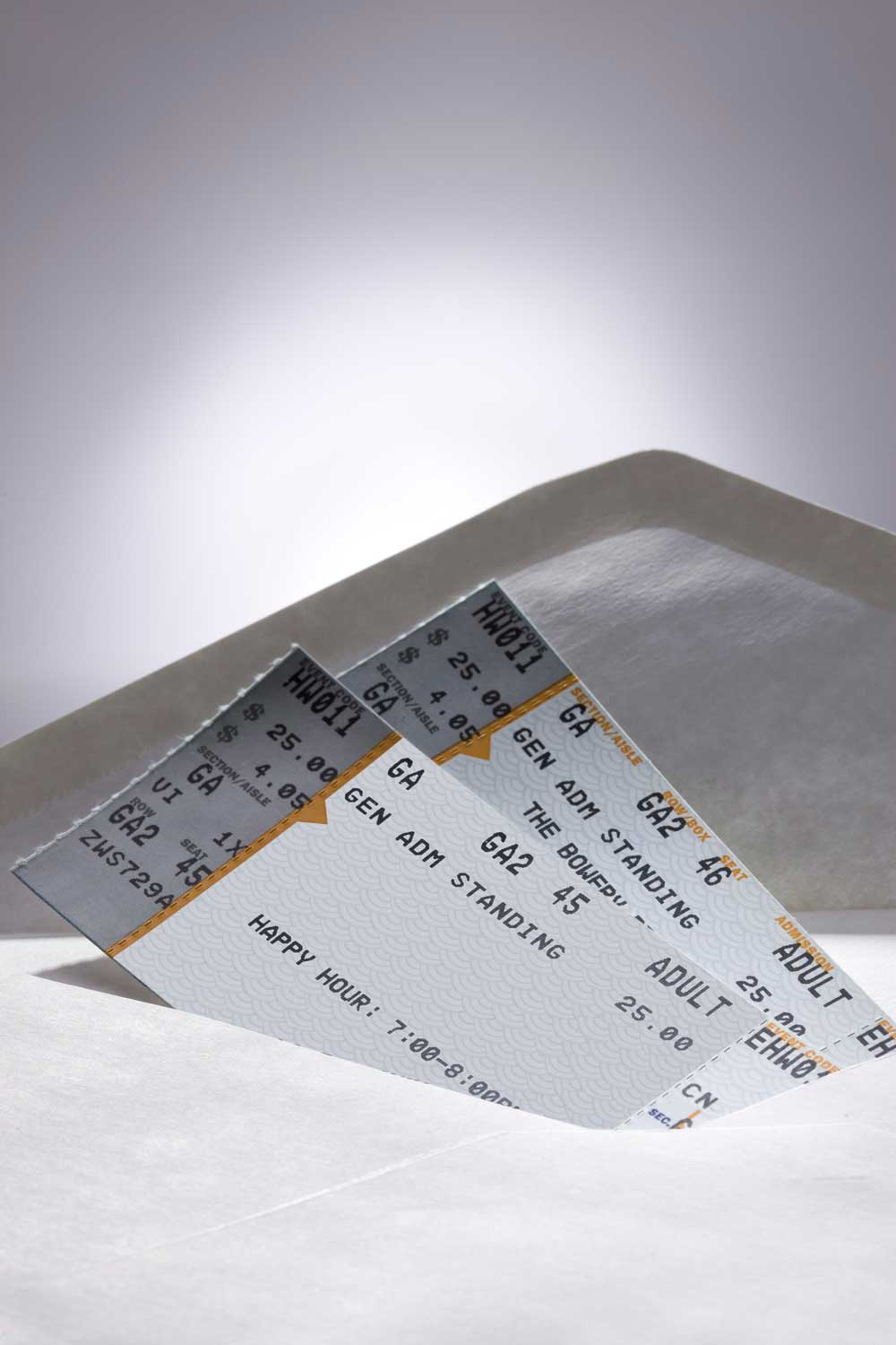 Concert tickets in envelope