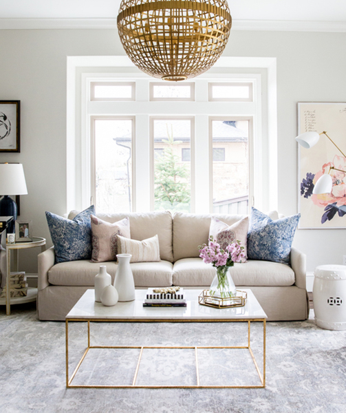 Living room with muted tones and accent table